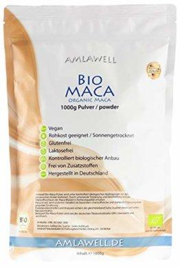 Amlawell Bio-Maca-Pulver aus Peru / 1kg in Deutschland abgepackt / kontrolliert biologischer Anbau / BIO - DE-ÖKO-039 (1000g) - 1