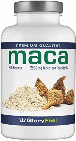 GloryFeel® Maca 2500mg Kapseln Hochdosiert - 200 vegane Kapseln - Original Maca-Wurzel Extrakt aus Peru PLUS Vitamin B12 - Laborgeprüfte Herstellung ohne Zusätze in Deutschland - 1