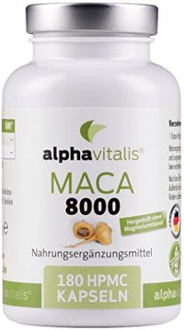 Maca Gold 8000 – 180 Maca Kapseln 20:1 Extrakt - vegan - ohne Magnesiumstearat - hochdosiert und in Premiumqualität - 6 Monate Versorgung EINWEG - 1