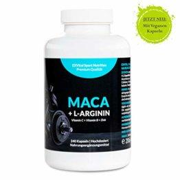 Maca Kapseln 1000 mg + L-Arginin 1800 mg + Vitamine + Zink, hochdosiert, 2-Monatspackung mit 240 Kapseln in deutscher Premiumqualität, Geld zurück Garantie, 1er Pack (1 x 206,4 g) von EXVital - 1