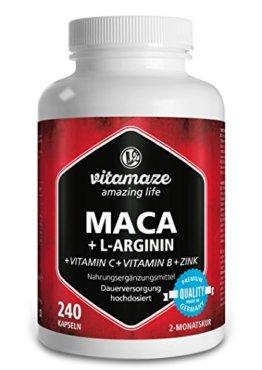 Maca Kapseln hochdosiert Tagesdosis 1000 mg + L-Arginin 1800 mg + Vitamine C, B6, B12 + Zink, 240 Kapseln für 2 Monate, Qualitätsprodukt-Made-in-Germany - 1