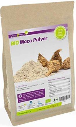 Maca Pulver 1kg - Bio Qualität - Maca-Wurzel - ganze Knolle gemahlen - 1000g im Zippbeutel - Premium Qualität - 1
