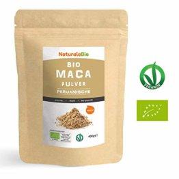 Maca Pulver Bio [ Gelatiniert ] 400g | Natürlich und Rein, hergestellt in Peru aus Bio Maca Wurzel | Superfood reich an Aminosäuren, Ballaststoffen, Vitaminen und Mineralien | NATURALEBIO - 1