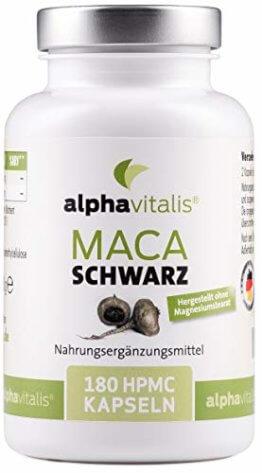 Maca Schwarz 4000 mg je Tagesdosis- 180 Maca Kapseln - Maca Extrakt vegan, hochdosiert und ohne Magnesiumstearat - Qualität made in Germany - 1