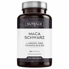 Maca Schwarz aus Peru 24.000mg pro Dosis mit L-Arginin, Zink und Vitaminen B6 B12 | 120 pflanzliche Kapseln aus hochkonzentriertem Maca-Extrakt 20:1 | Nutralie - 1