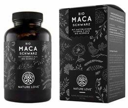 NATURE LOVE® Bio Maca Kapseln - 3000mg Bio Maca schwarz je Tagesdosis. 180 Kapseln. Mit natürlichem Vitamin C. Ohne Zusätze wie Magnesiumstearat. Zertifiziert Bio, hochdosiert, vegan, Made in Germany - 1