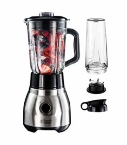 Russell Hobbs Standmixer Glas Steel 2-in-1, inkl. To-Go-Becher & Deckel, 1.5l Glasbehälter, Mixer 0.8 PS-Motor, Impuls-/Ice-Crush Funktion, mini Smoothie-Maker 23821-56 - 1